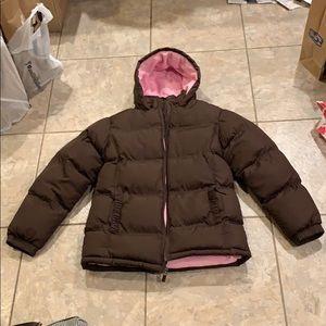 Brown puffer winter coat